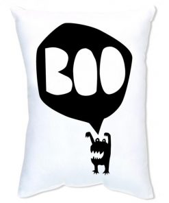 BOO Monster Cushion - Black on White