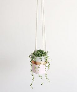Concrete Hanging Planter | Pastel Pink & Copper | by Coral and Herb