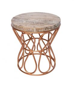 Teak/Rose Gold Iron Loop Side table
