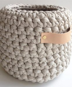 Crochet Basket with Leather Handles