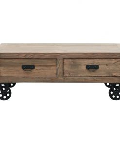 Industrial Cart Coffee Table with Drawers