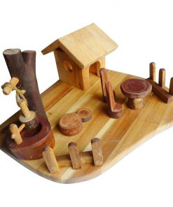Wooden Doll Play Scene