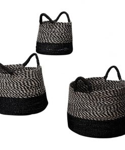 Striped Basket with Contrast Base & Handles
