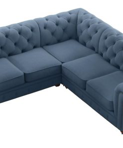 Camden Chesterfield L-Shaped Sectional Corner Sofa Atlantic Blue Atlantic Blue Atlantic Blue