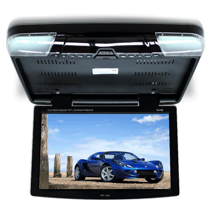 "15.6"" DVD player Roof mount In Car Flip Down Monitor HDMI suit 12V/24V vehicle BLACK"