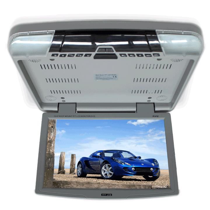 "15.6"" DVD player Roof mount In Car Flip Down Monitor HDMI suit 12V/24V vehicle GREY"