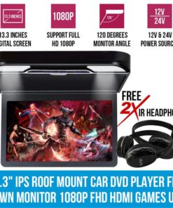 """13.3"""" IPS Roof Mount Car DVD Player Flip Down Monitor 1080P FHD HDMI Games USB"""