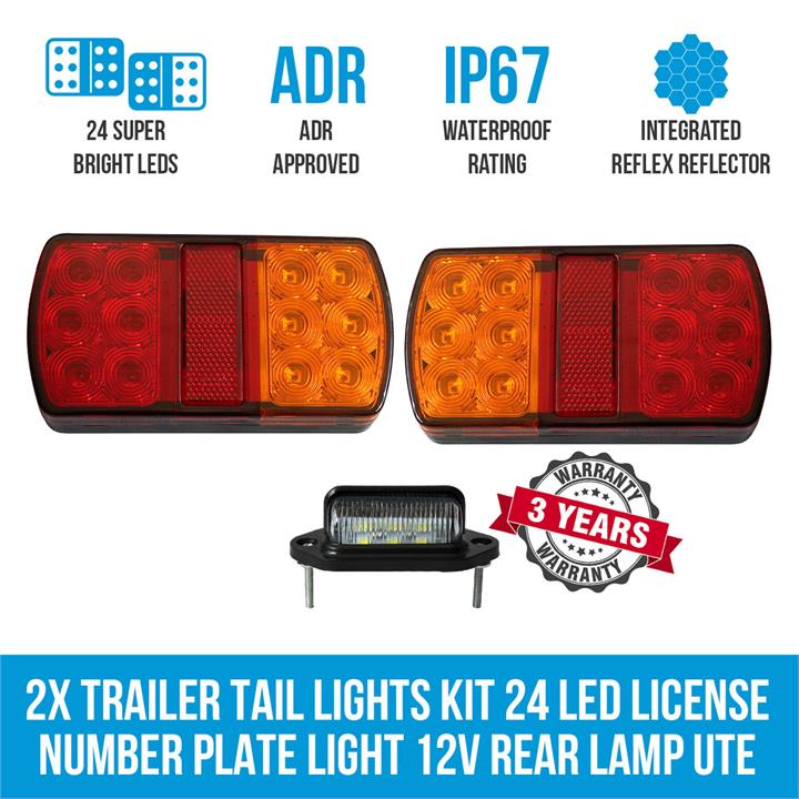 2x Trailer Tail Lights Kit 24 LED License Number Plate Light 12V Rear Lamp UTE