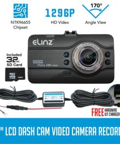 Dash Cam DVR Car Video Camera Recorder FHD 170 Night Vision 1296P 3.0 LCD 32GB Hardwire Kit Charger