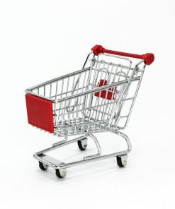 Mini Shopping Trolley Desktop Stationery Holder - Red