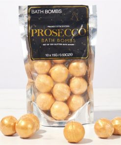 Prosecco Scented Gold Glitter Bath Bombs | Pack of 10 x 15g Bath Bombs