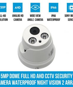 5MP Dome Full HD AHD CCTV Security Camera Waterproof Night Vision 2 Array LED
