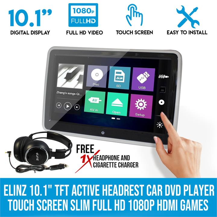 "Elinz 10.1"" TFT Active Headrest Car DVD Player Touch Screen Slim Full HD 1080P HDMI Games"