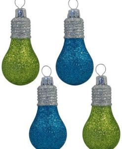 Glittered Lime & Turquoise Light Bulb Baubles - 4 x 70mm