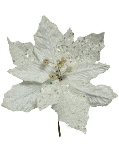 White Sequin & Fabric Petal Poinsettia Decorative Pick - 17cm