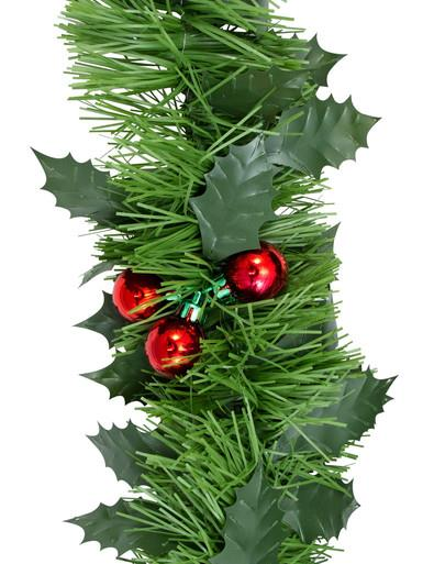 Holly Leaf & Metallic Bauble Cluster Pine Garland - 5m