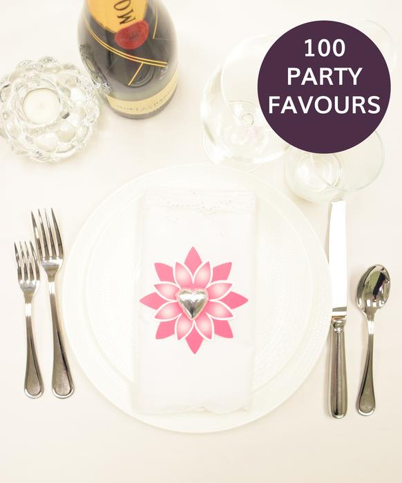 100 Pink Flower Party Favours