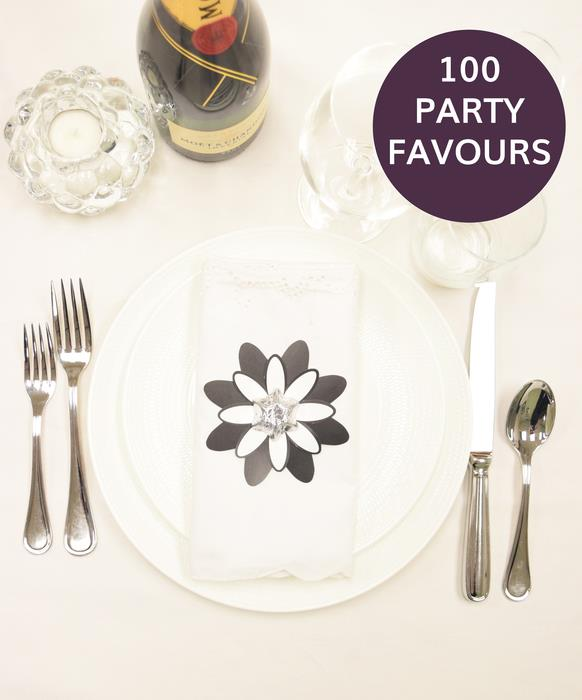 100 Black and White Flower Party Favours