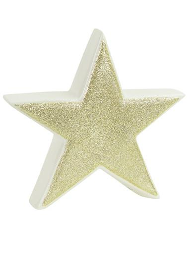 White Ceramic With Gold Glitter Free Standing Star Ornament - 17cm