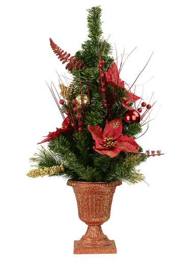 Pre-Decorated Traditional Red & Gold Poinsettia & Pine Table Top Tree - 75cm