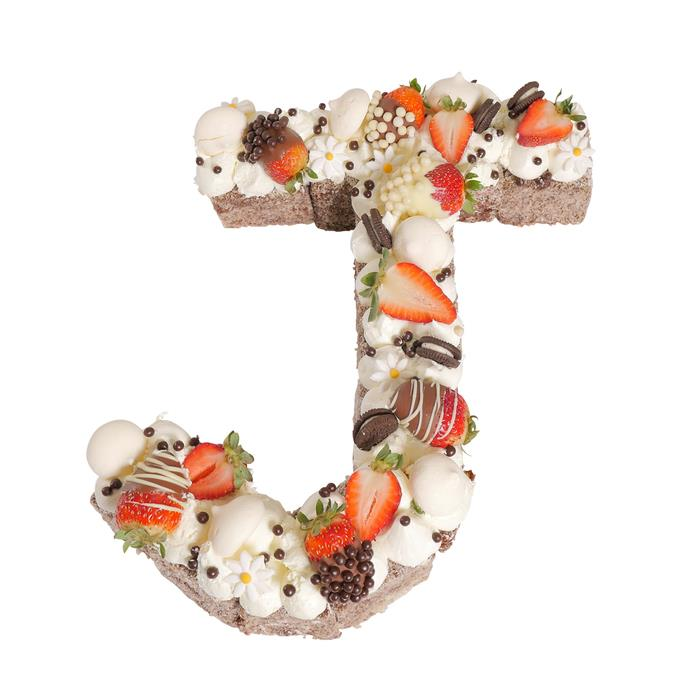 Letter 'J' Chocolate Lamington Surprise Birthday Cake