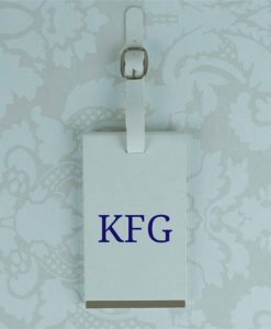 White Personalised Initials Luggage Tag