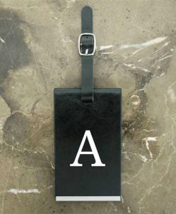 Black Luggage Tag With Personalised Initials