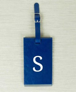 Blue Luggage Tag With Personalised Initials