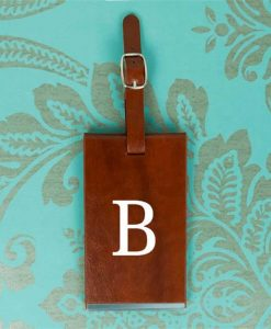 Brown Luggage Tag With Personalised Initials