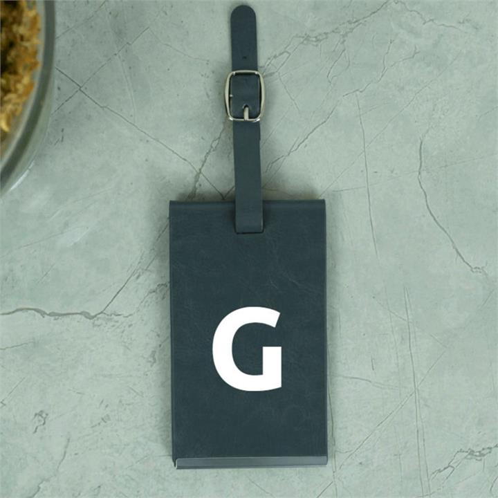 Grey Luggage Tag With Personalised Initials