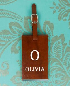 Personalised Initial and Name Brown Luggage Tag