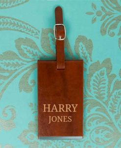Personalised Name Brown Luggage Tag