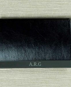 Engraved Initials Black Card Holder