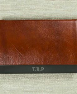 Engraved Initials Brown Card Holder