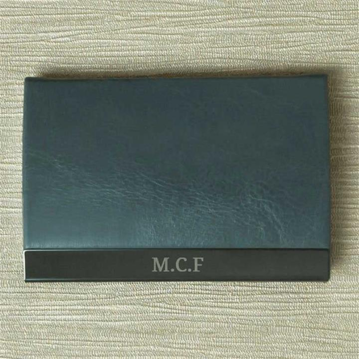 Engraved Initials Grey Card Holder