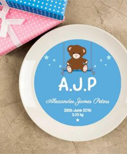 Baby Boy Birth Announcement Plate