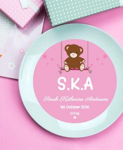 Personalised It's A Girl Birth Announcement Plate