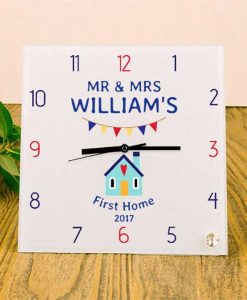 First Home Personalised Square Glass Clock