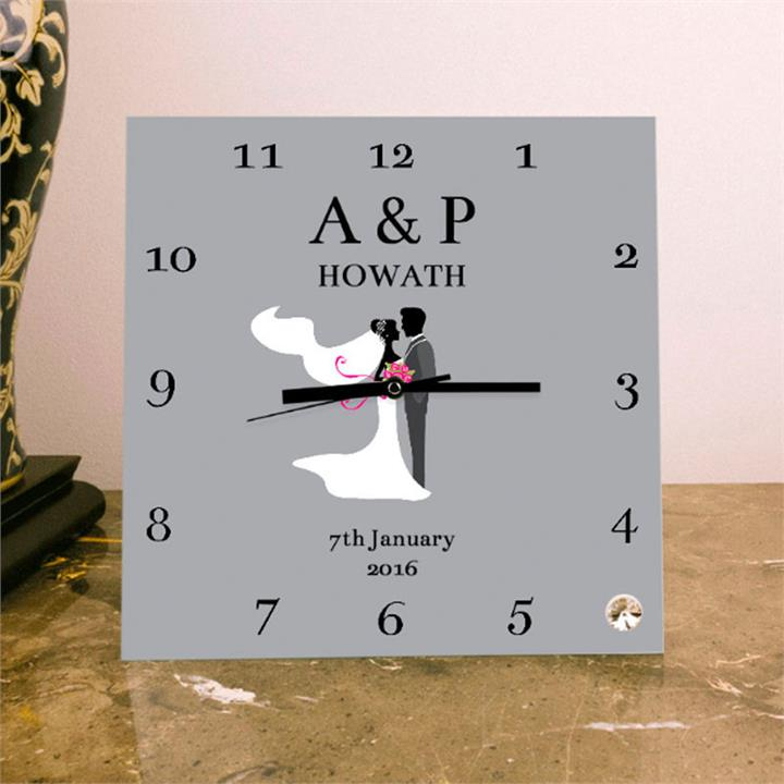 Personalised Wedding Day Square Glass Clock