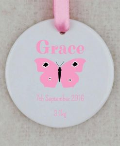 Baby Girl Personalised Circular Ornament