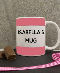 Personalised Rose Pink Stripes Mug