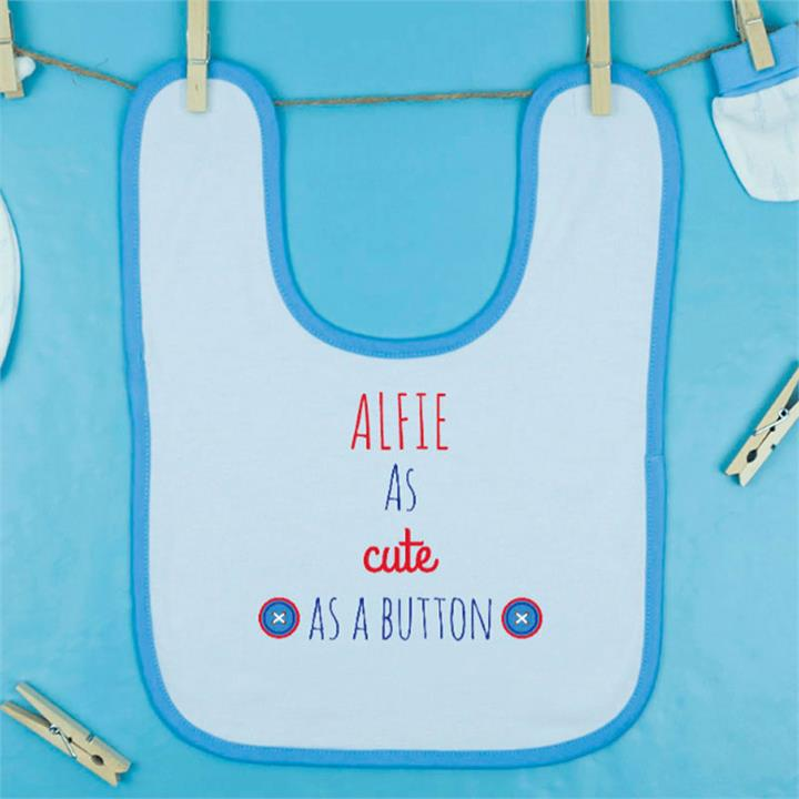 Cute as a Button Personalised Bib