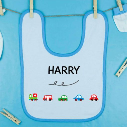 Cars and Trucks Personalised Bib