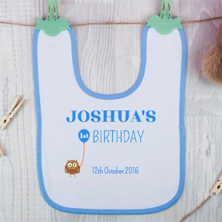 His First Birthday Personalised Bib