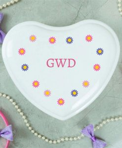 Flowers Personalised White Heart Jewellery Box