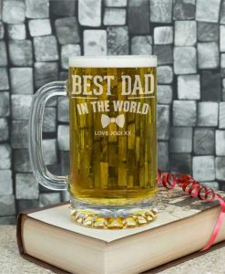 Best Dad In The World Personalised Glass Tankard