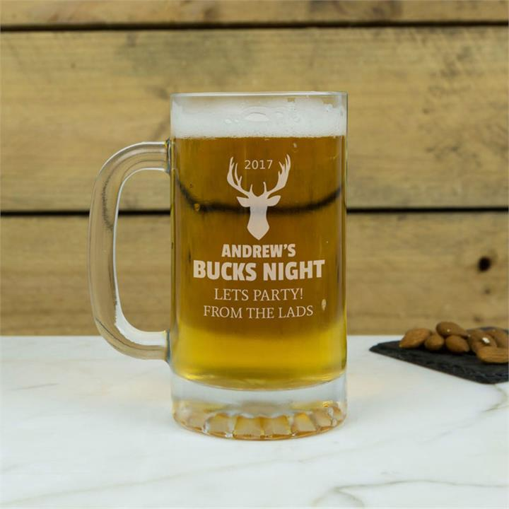 Personalised Bucks Night Glass Tankard