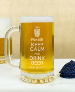 Personalised Keep Calm And Drink Beer Glass Tankard