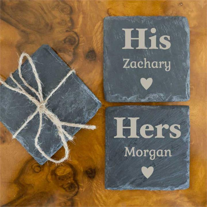 Love at First Set Natural Slate Coasters