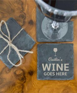 Wine Goes Here Slate Coasters
